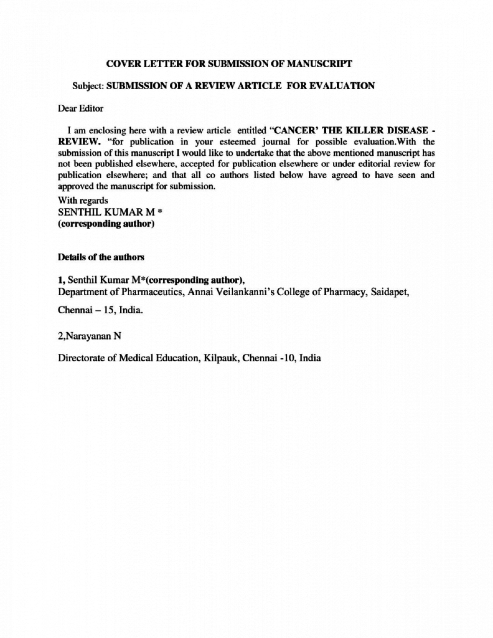012 Research Paper Cover Letter For Journal Submission Example Publication Singular Article Model Of 1920
