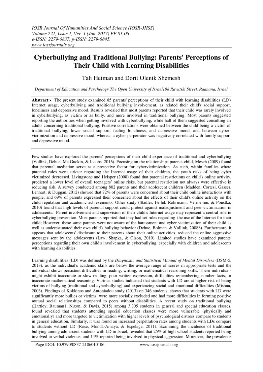 012 Research Paper Largepreview Example Of Conclusion In About Unforgettable Bullying