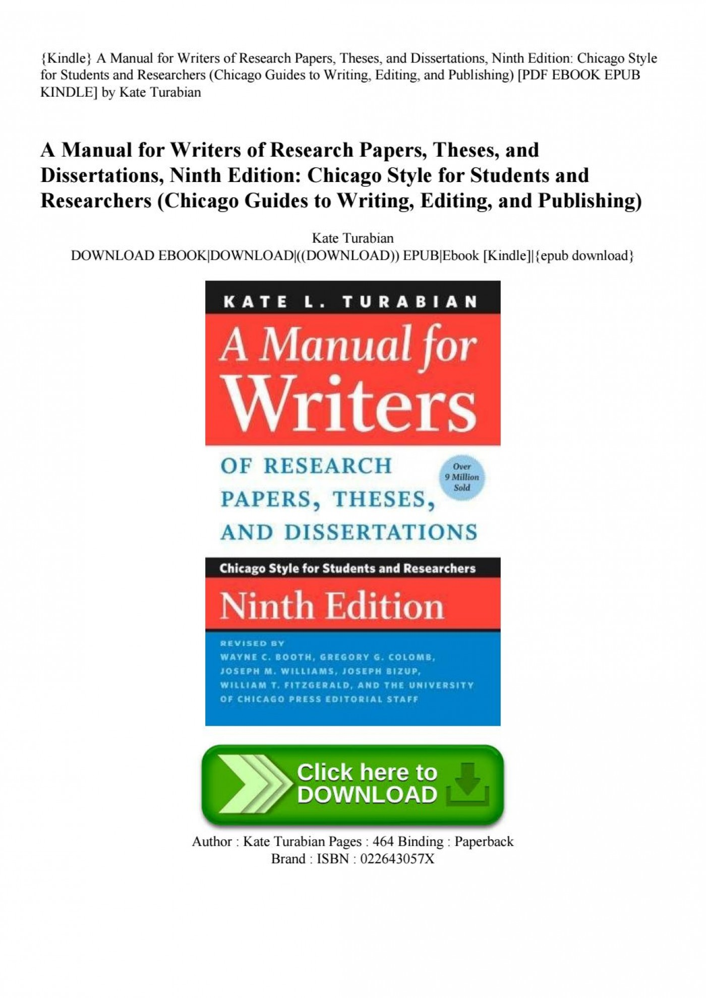 012 Research Paper Manual For Writers Of Papers Theses And Dissertations Page 1 Magnificent A Amazon 9th Edition Pdf 8th 13 1400