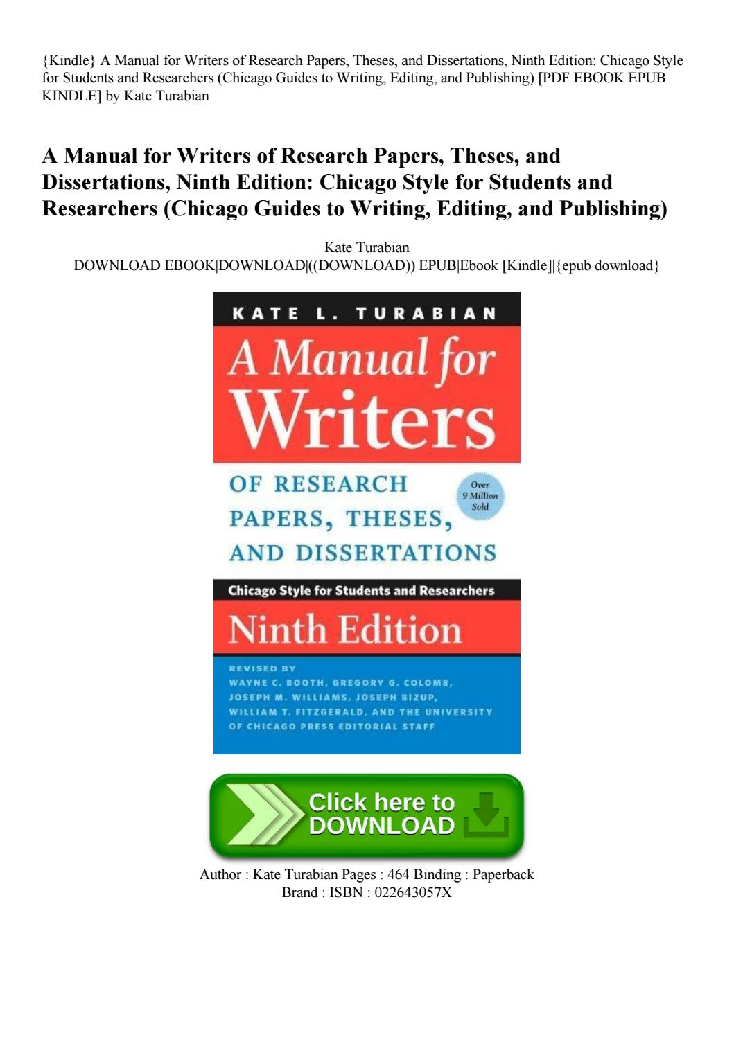 012 Research Paper Manual For Writers Of Papers Theses And Dissertations Page 1 Magnificent A Amazon 9th Edition 8th 13 Full