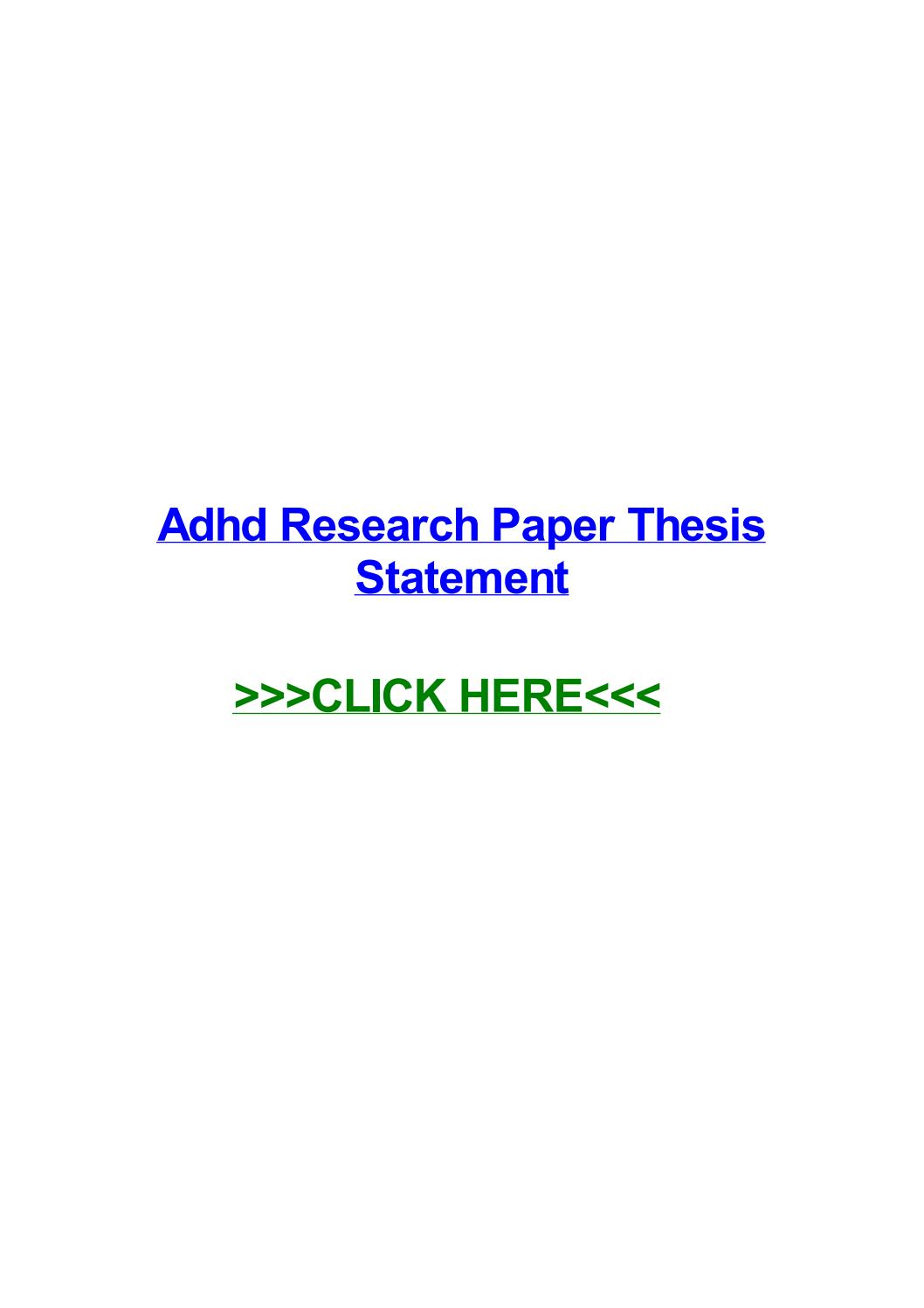 013 Adhd Research Paper Thesis Statement Page 1 Fantastic Full