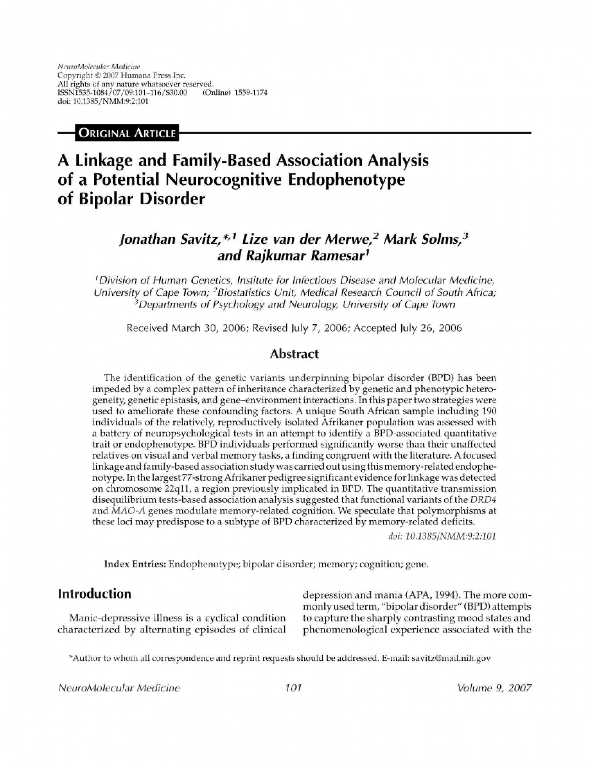 013 Apa Research Paper On Bipolar Disorder Rare Introduction 1920