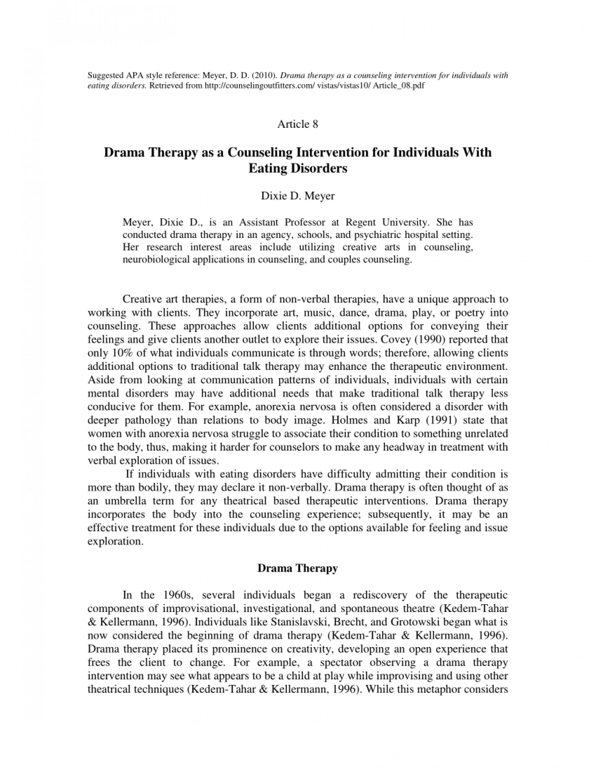 013 Apa Style Research Paper On Eating Wonderful Disorders Topics Articles And The Media 1920