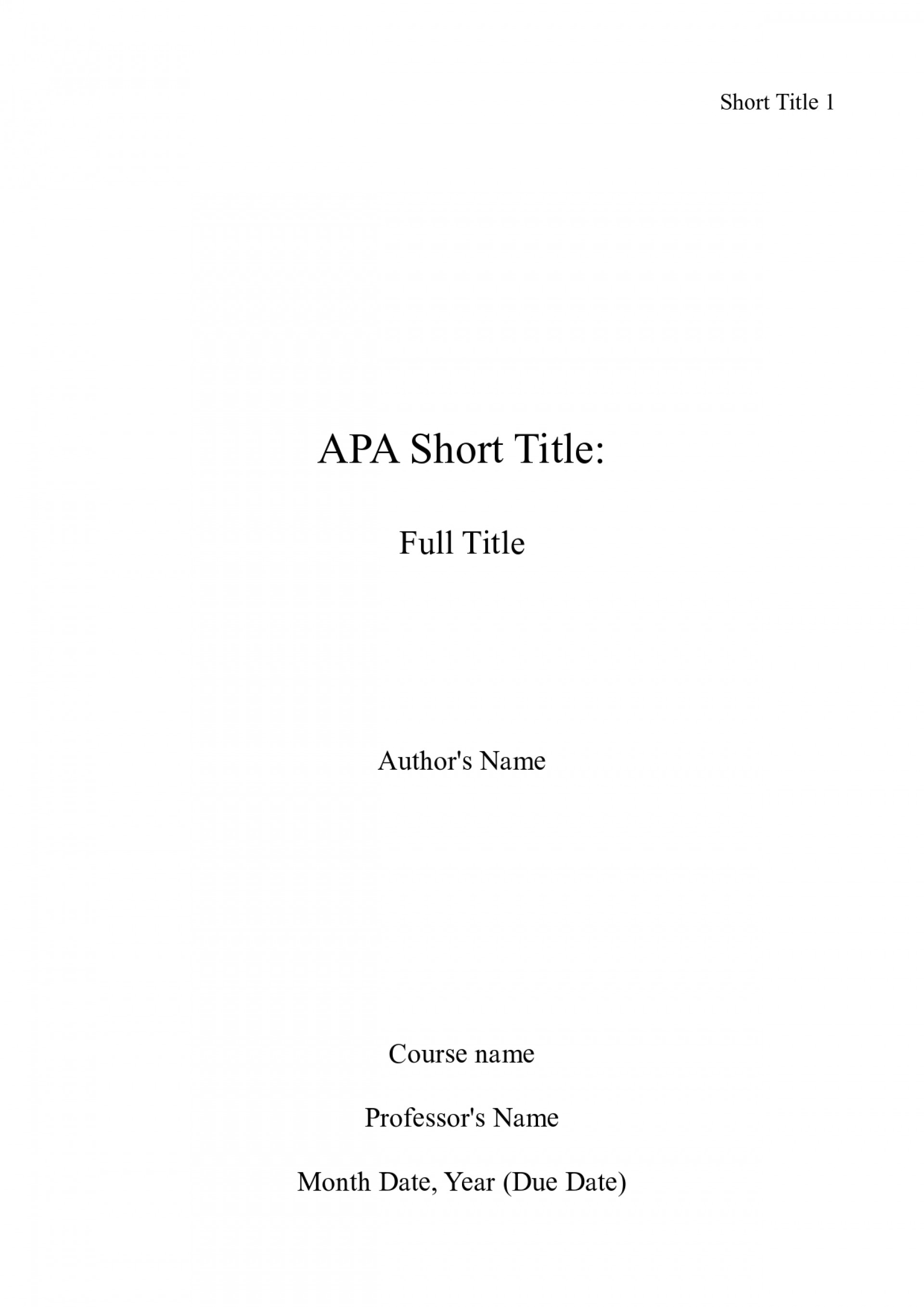 013 Apa Title Page Sample Academic Research Paper Surprising Essays 1920