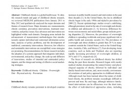 013 Childhood Obesity Research Paper Thesis Statement Fantastic