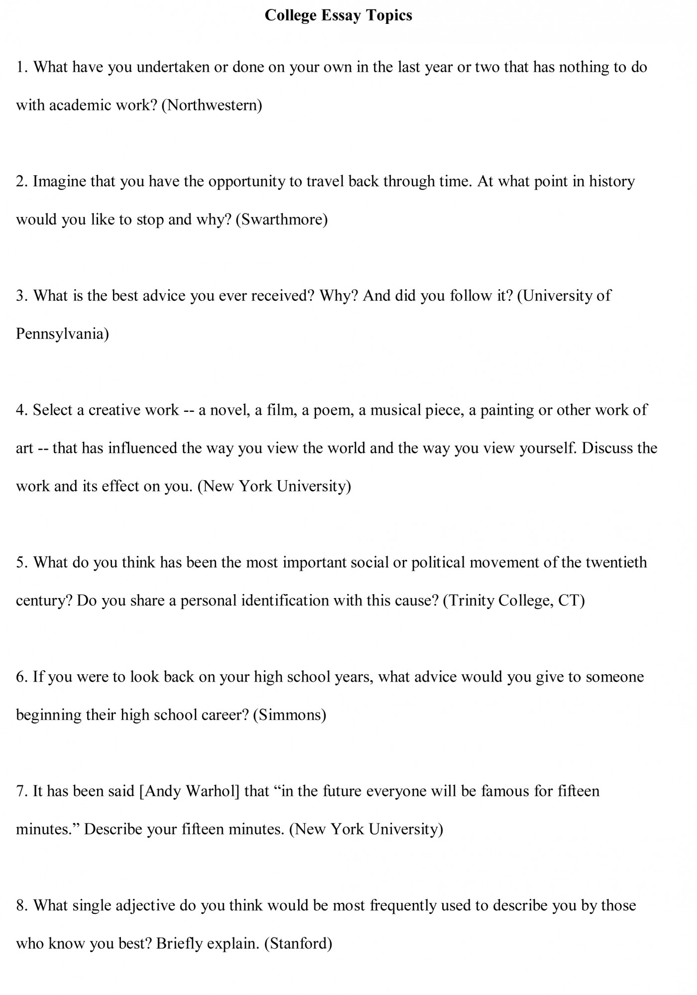 013 College Essay Topics Free Sample1 Research Paper Controversial Issue Breathtaking Example 1400