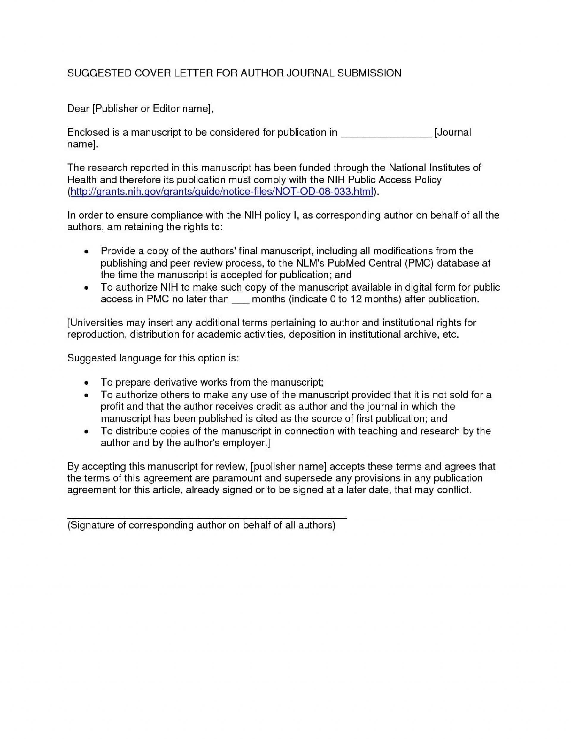 013 Cover Letter Template Manuscript Submission New Example To Journal Valid Sample Of For Article Singular Publication Model 1920