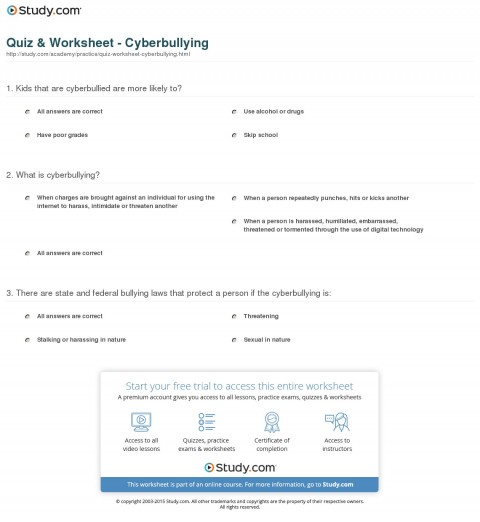 013 Cyberbullying Research Questions Quiz Worksheet Awful Topics Topic 480