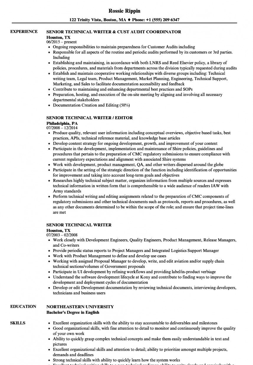 013 Example Of Research Paper In Technical Writing Senior Writer Resume Wonderful