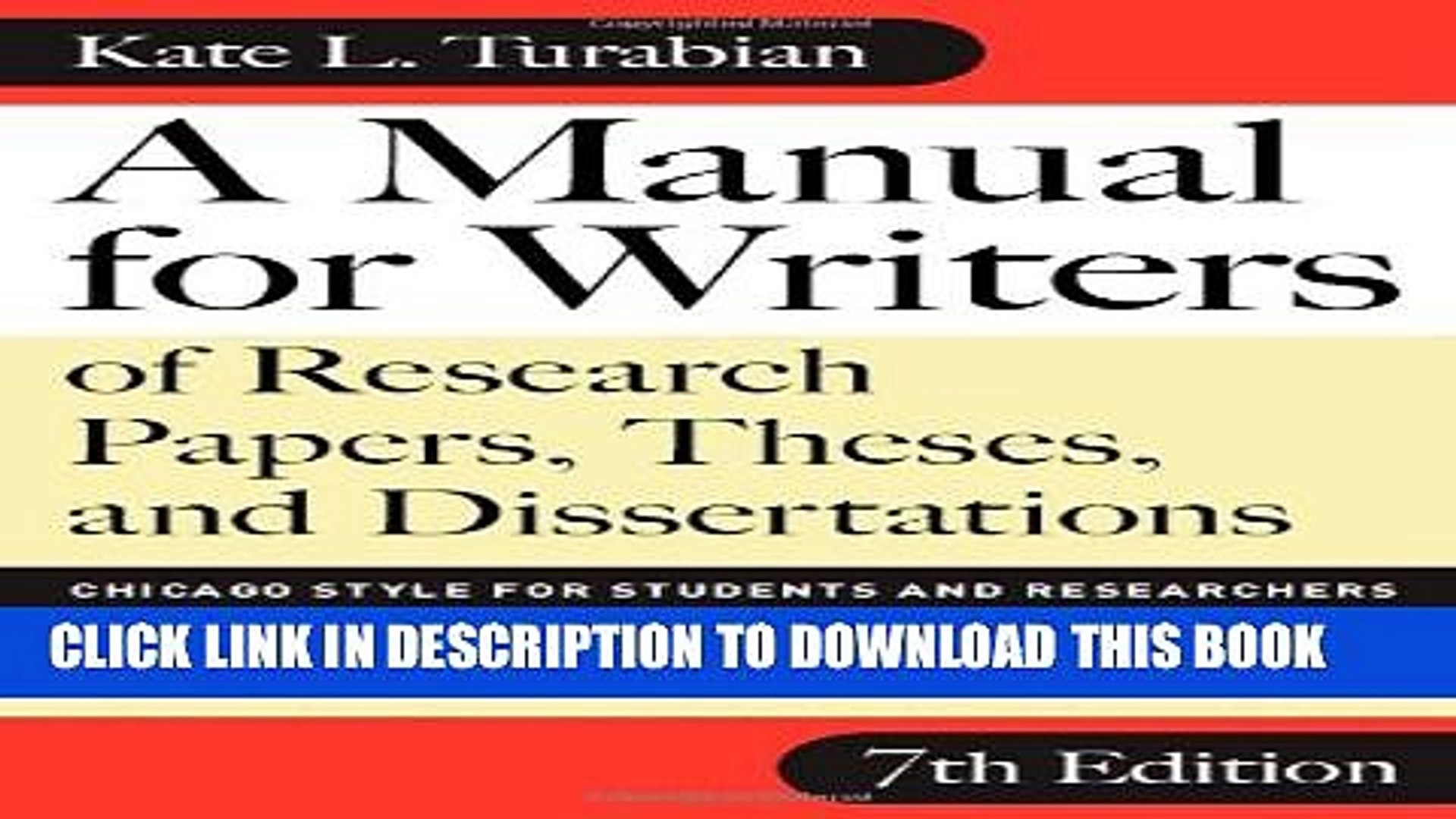 013 Manual For Writers Of Research Papers Theses And Dissertations Chicago Style Students Paper X1080 Rare A Full
