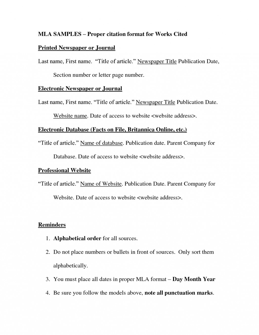 013 Mla Format Works Cited Page Websites 82966 How To Do For Research Unusual Paper A Large