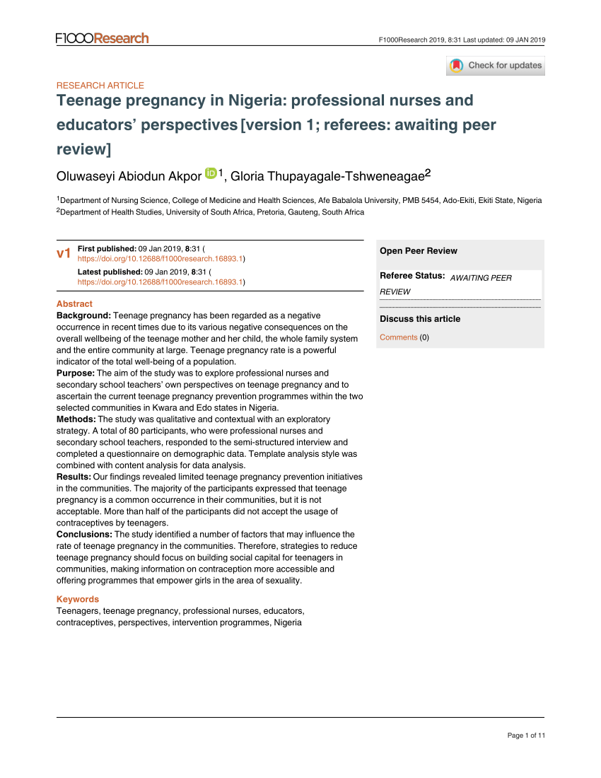 013 Nursing Research Articles On Teenage Pregnancy Paper Unusual Full