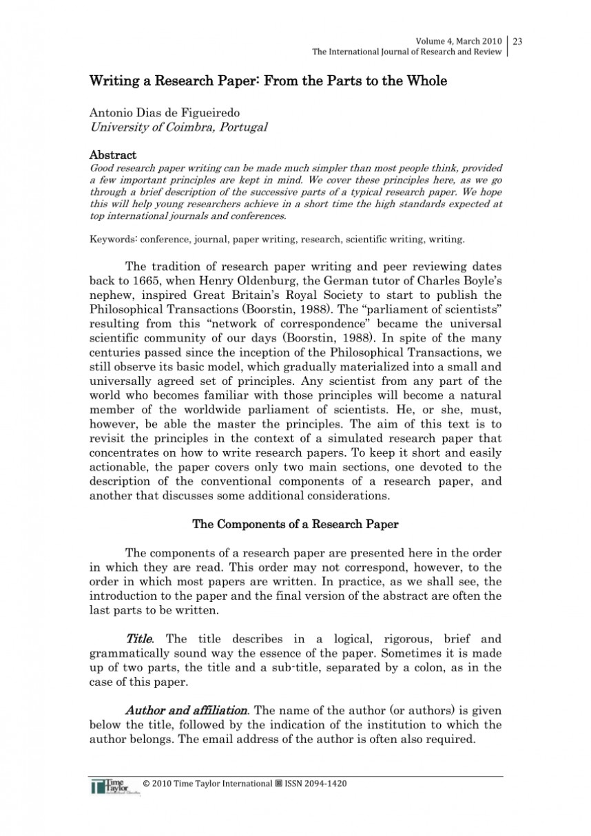 013 Order Of Writing Research Paper Impressive A Sequence