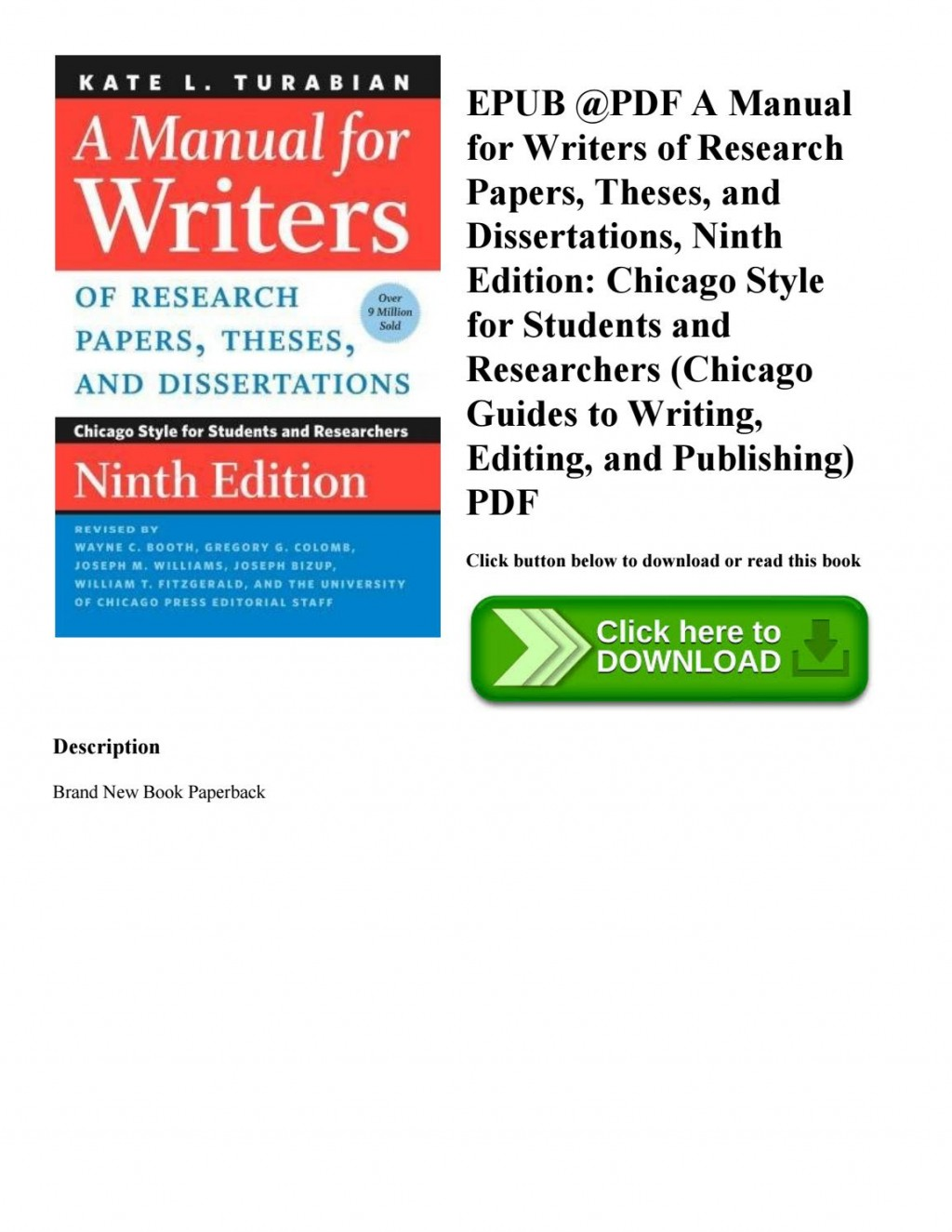 013 Page 1 Manual For Writers Of Researchs Theses And Dissertations 9th Edition Pdf Wonderful A Research Papers Large