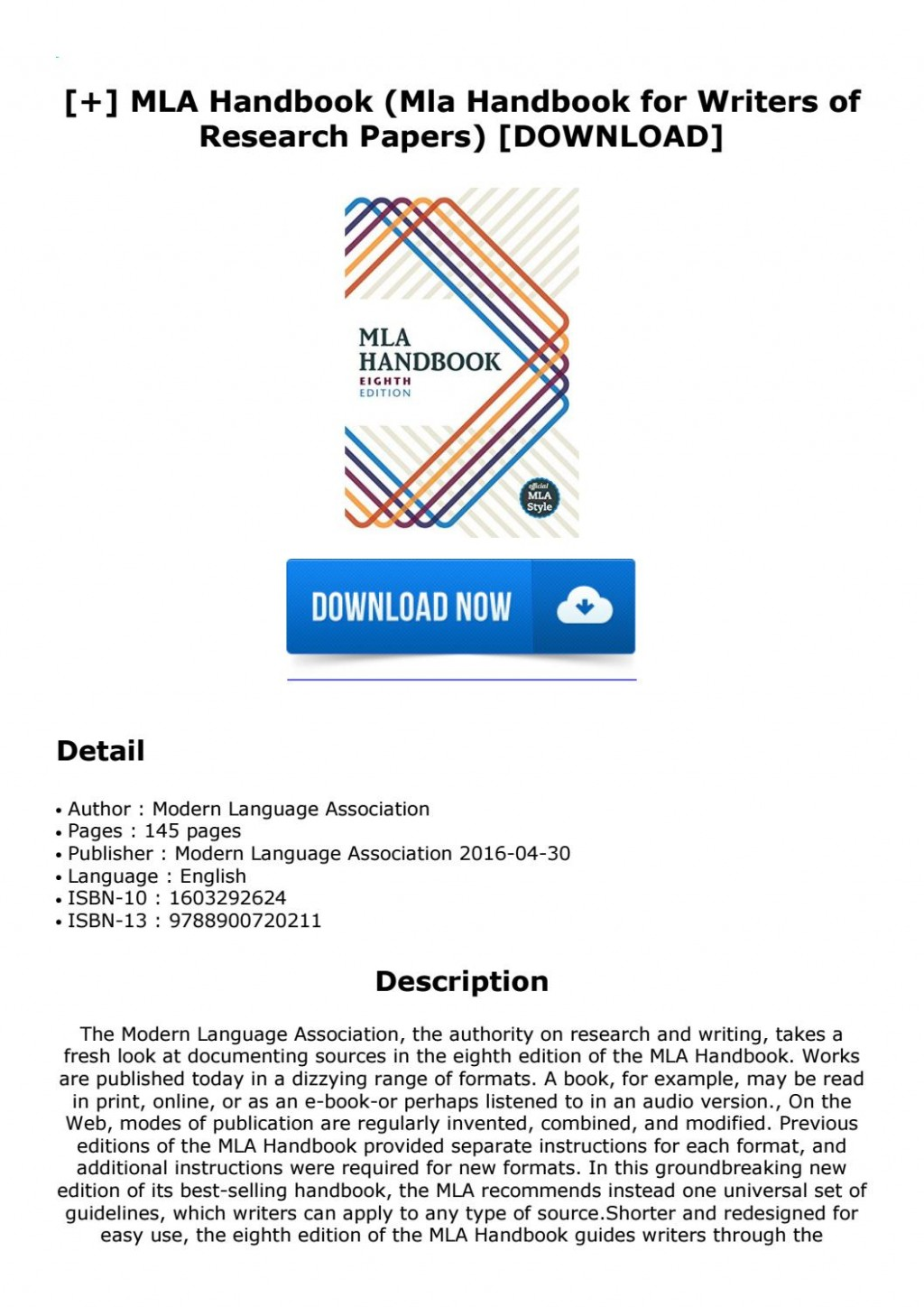 013 Page 1 Mla Handbook For Writers Of Researchs 8th Edition Unique Research Papers Pdf Free Download Large