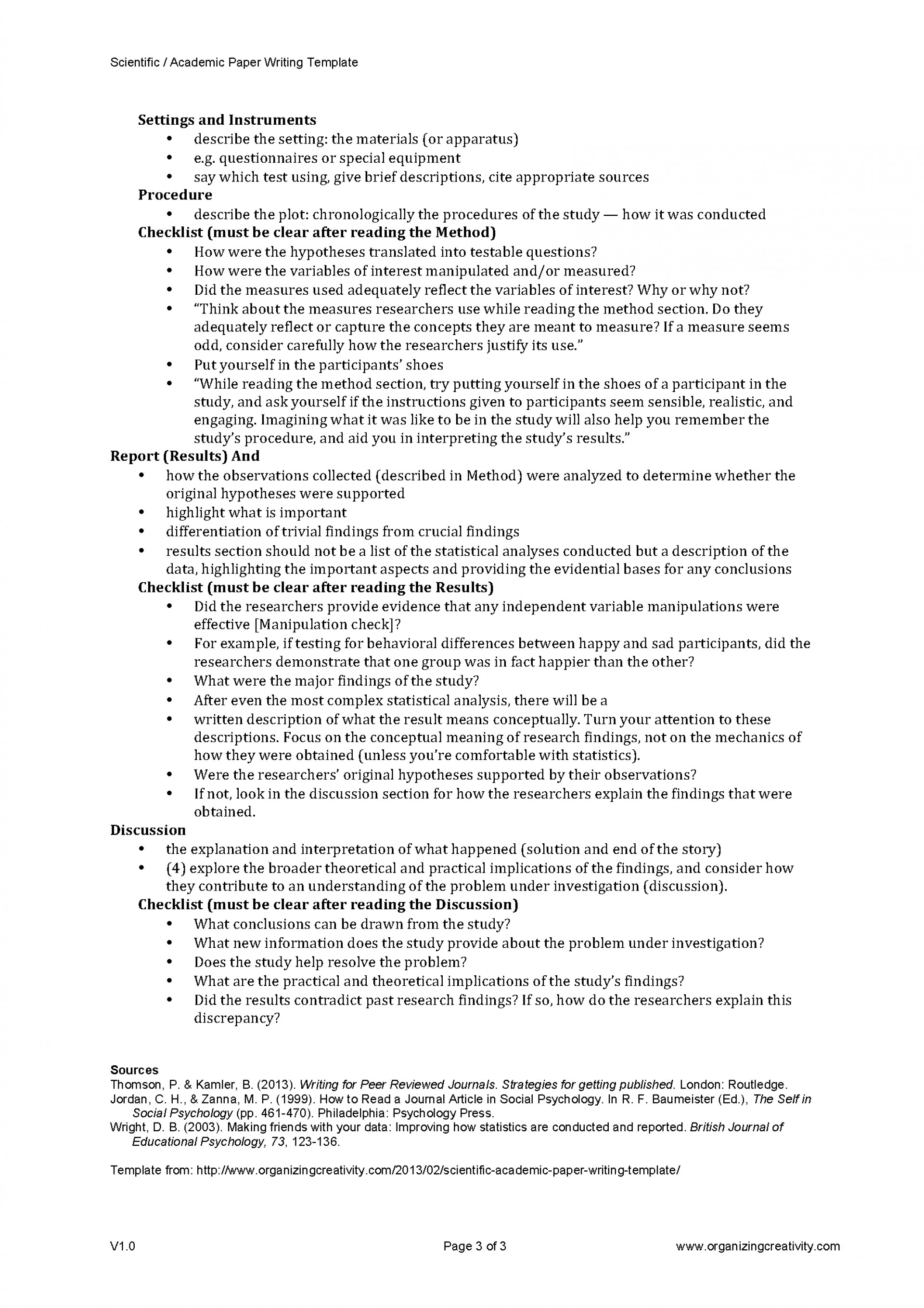 013 Research Paper Scientific Academic Writing Template Page 3 Methods Unique Outline Method 1920