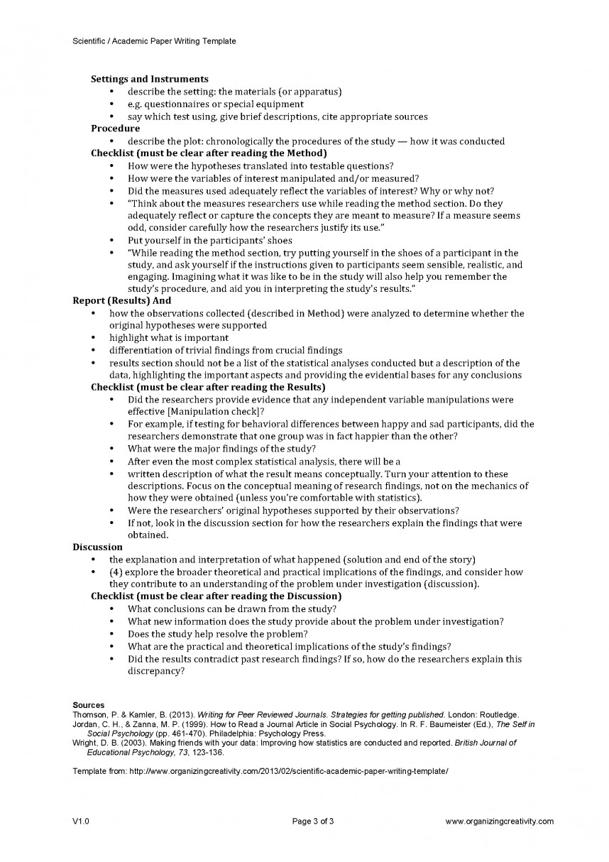 013 Research Paper Scientific Academic Writing Template Page 3 Methods Unique Outline Method