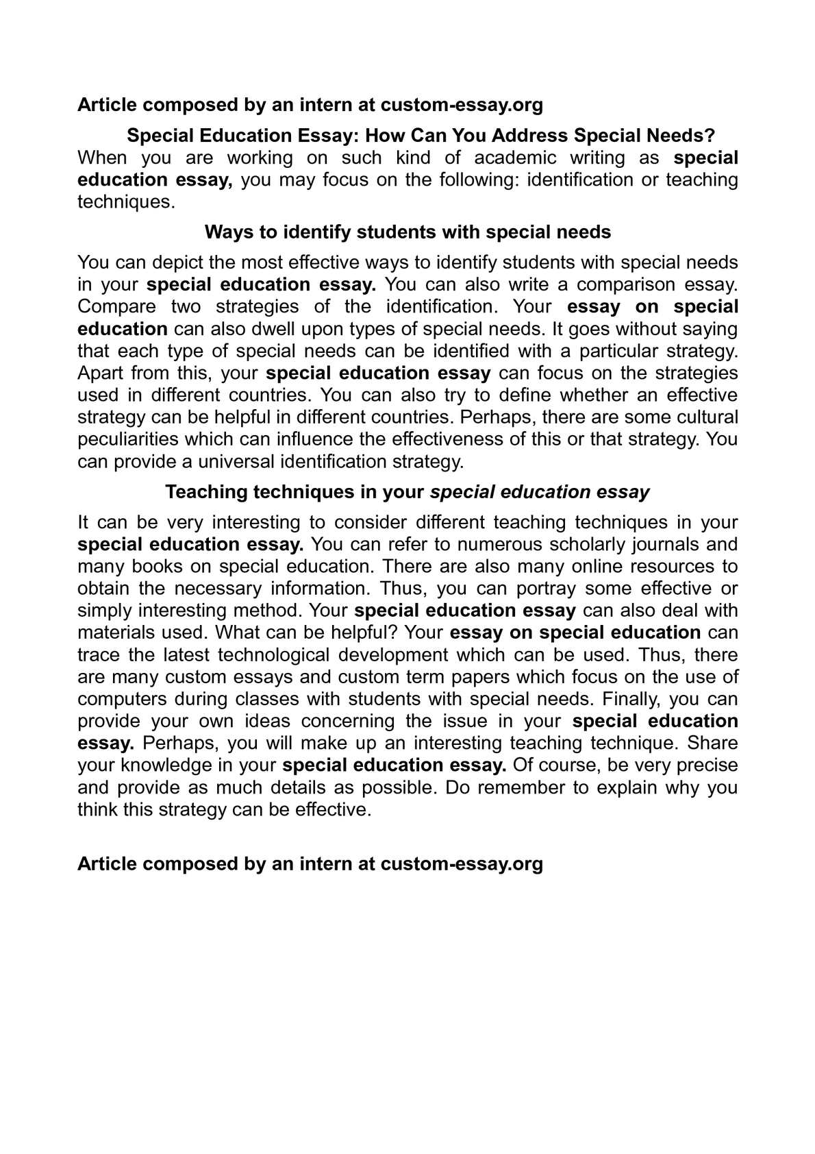 interview with a special education teacher essay
