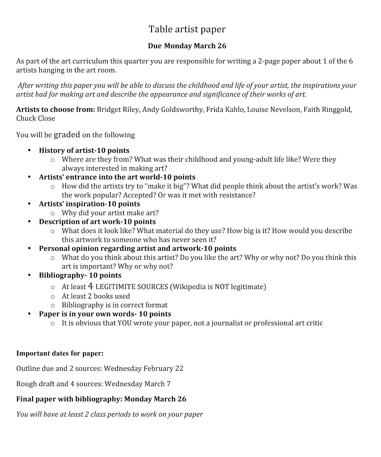 013 Tableartistpaper Middle School Research Paper Phenomenal Questions Science Topics Civil War Topic Full
