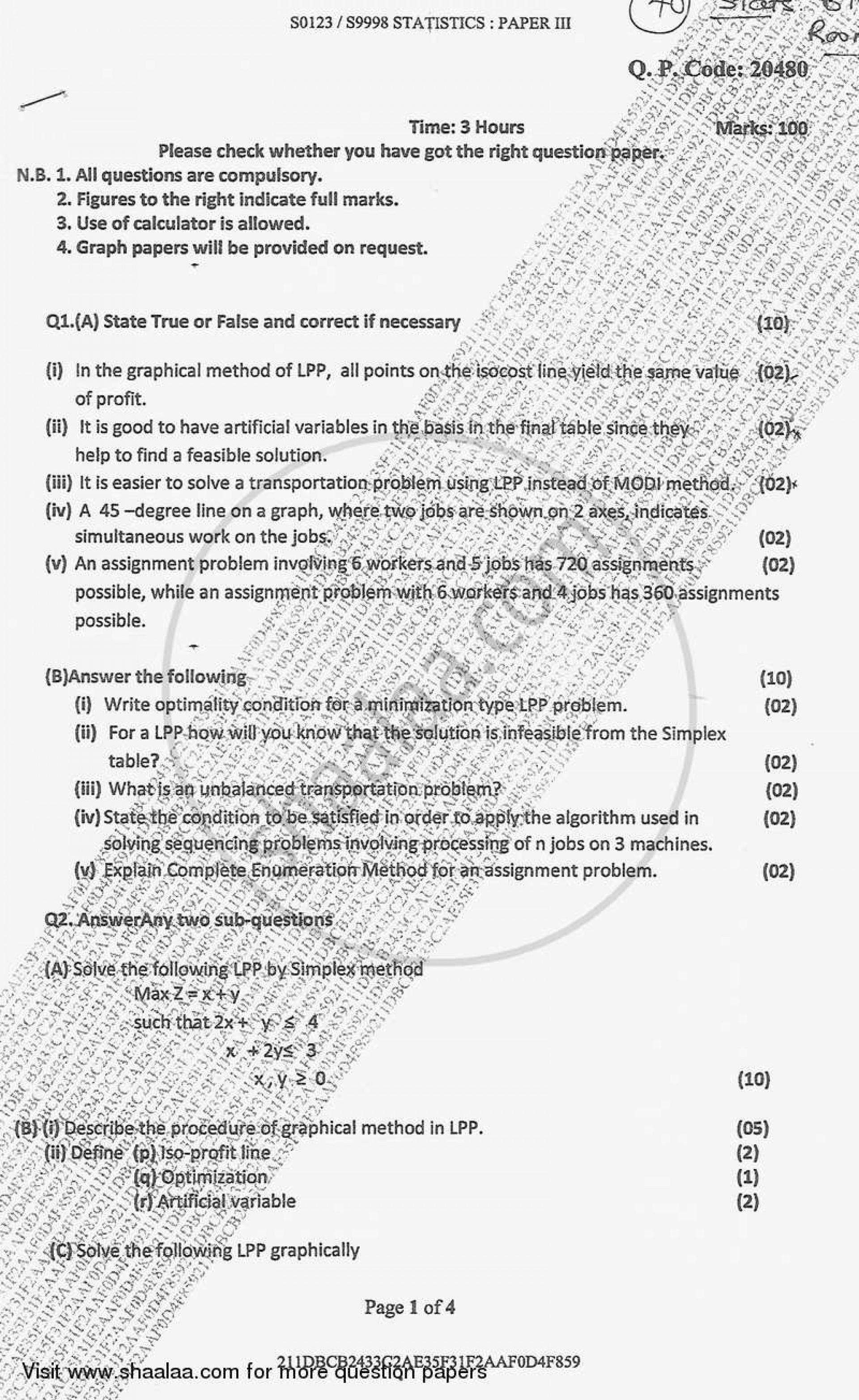 Formidable Operation Research Question Paper Download Pdf ~ Museumlegs