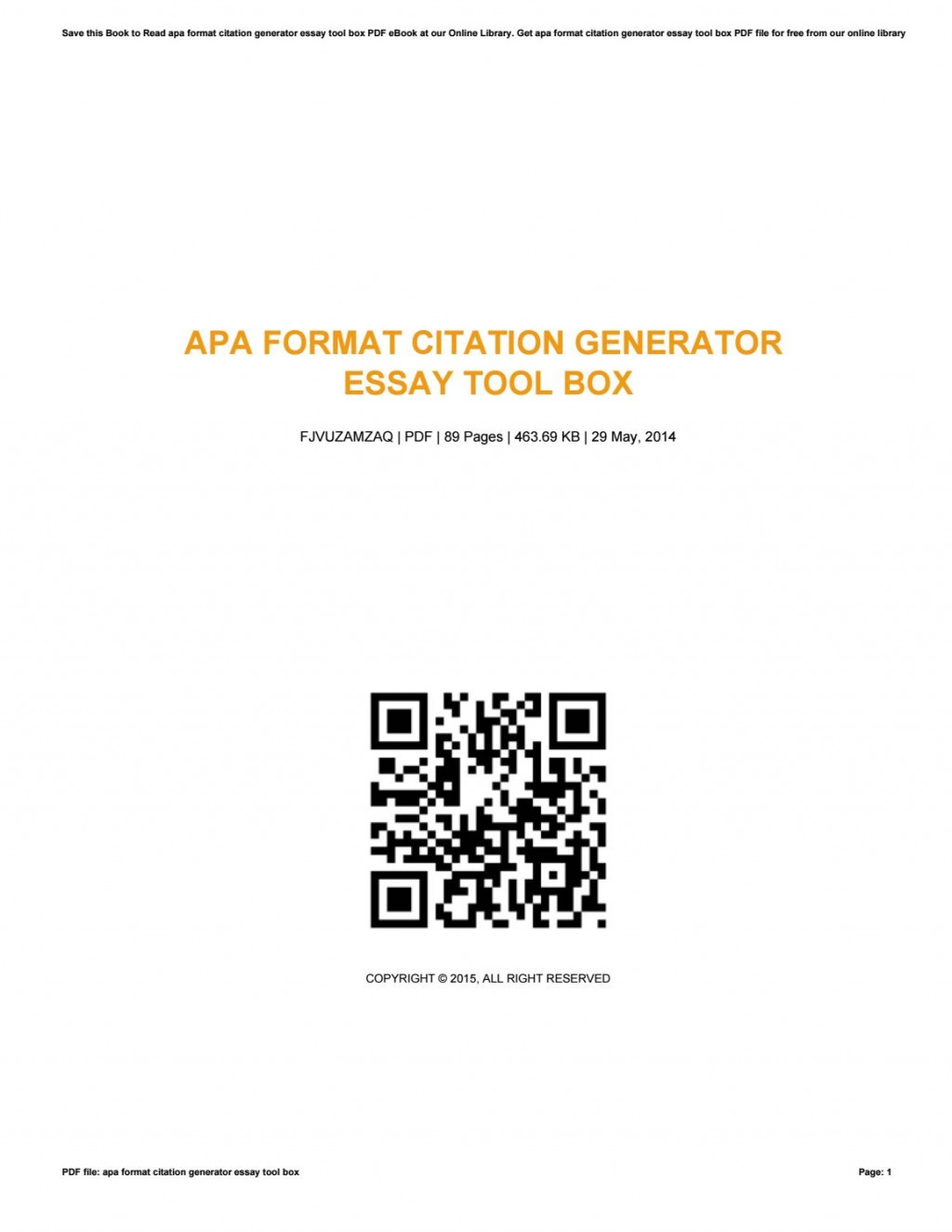014 Apa Research Paper Citation Generator Page 1 Surprising Format Large