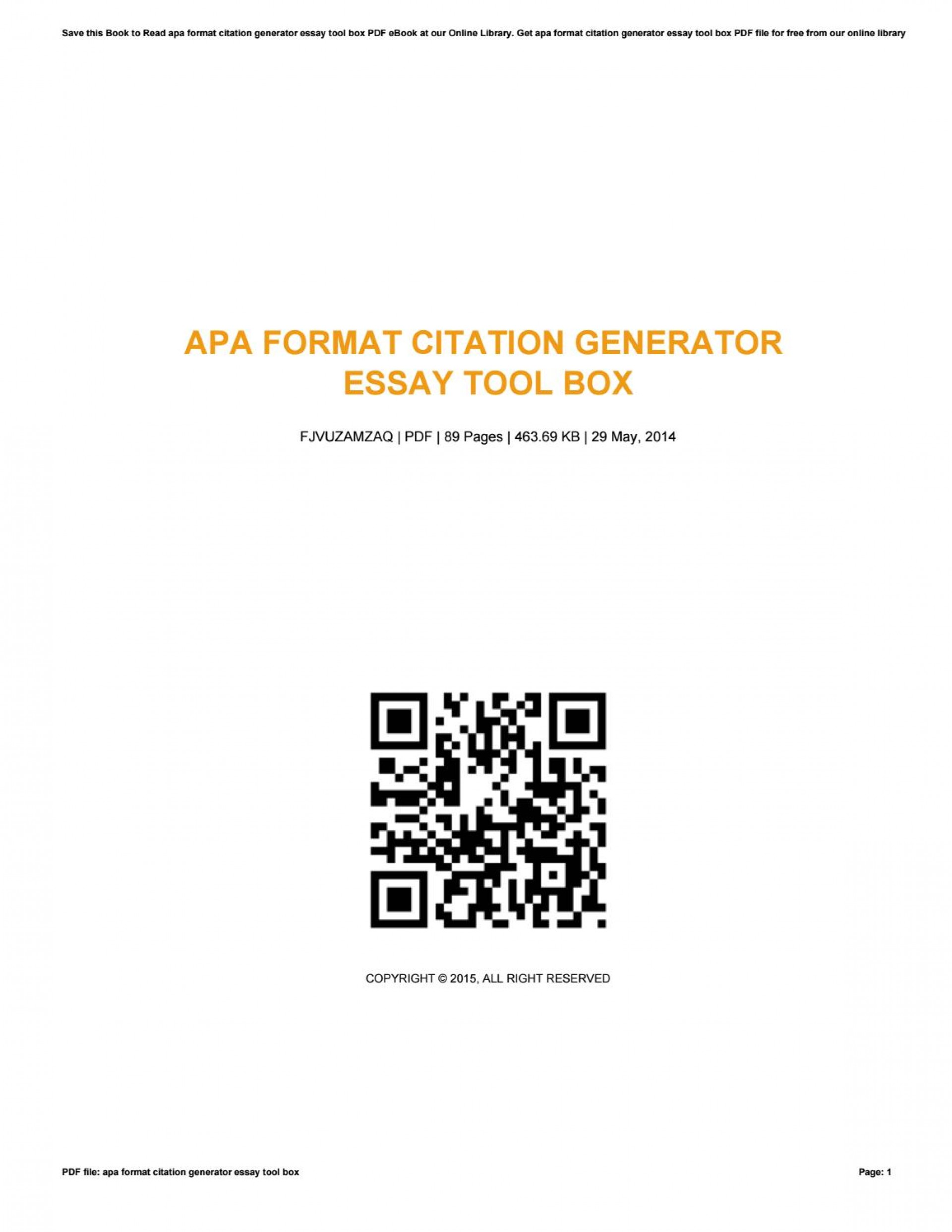 014 Apa Research Paper Citation Generator Page 1 Surprising Format 1920