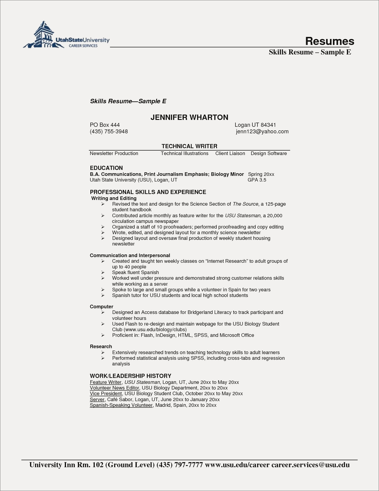 014 Biology Research Paper Lovely Resume Skills Section Example