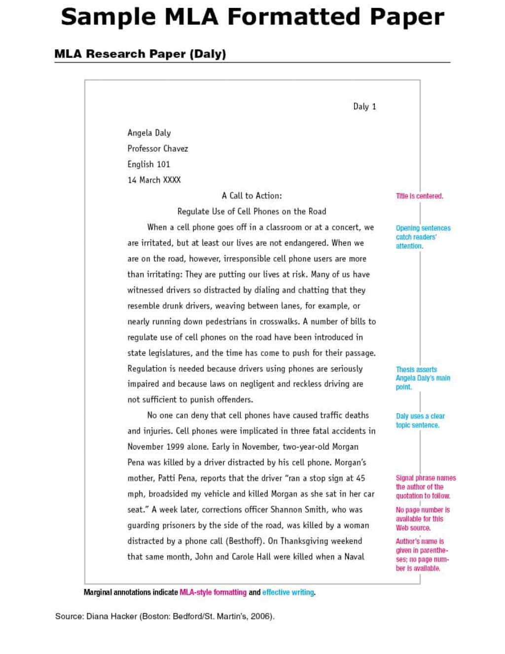 014 How To Write Research Paper Mla Format Example Template Dreaded A Large