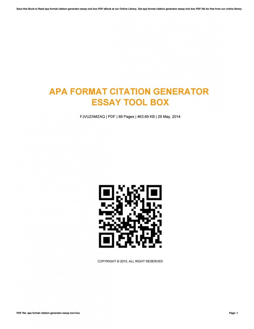 014 Research Paper Apa Citation Machine Page 1 Awful Generator Format