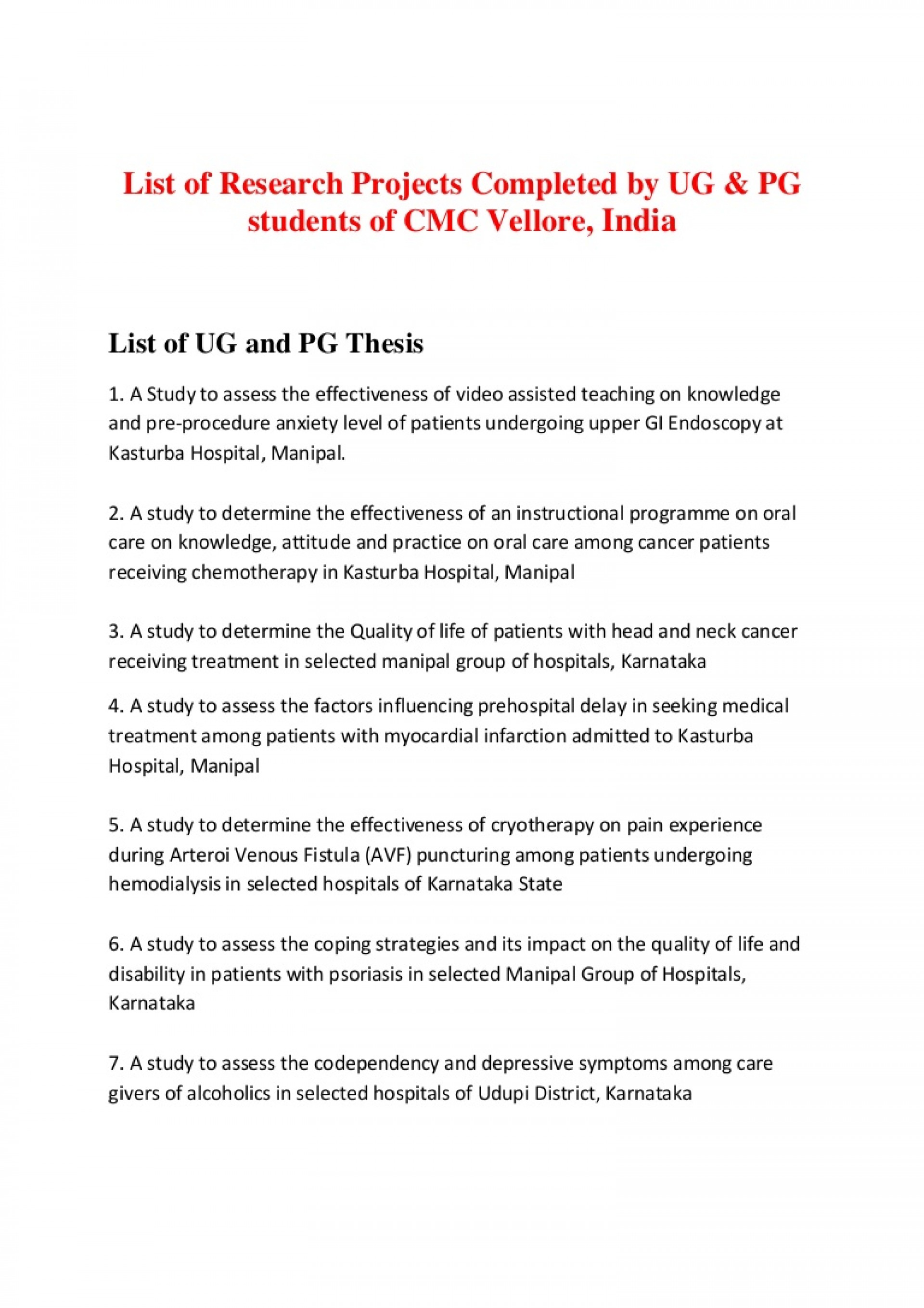 014 Research Paper Listofresearchprojectscmcvellore Phpapp01 Thumbnail Easy Topics Top Nursing 1920