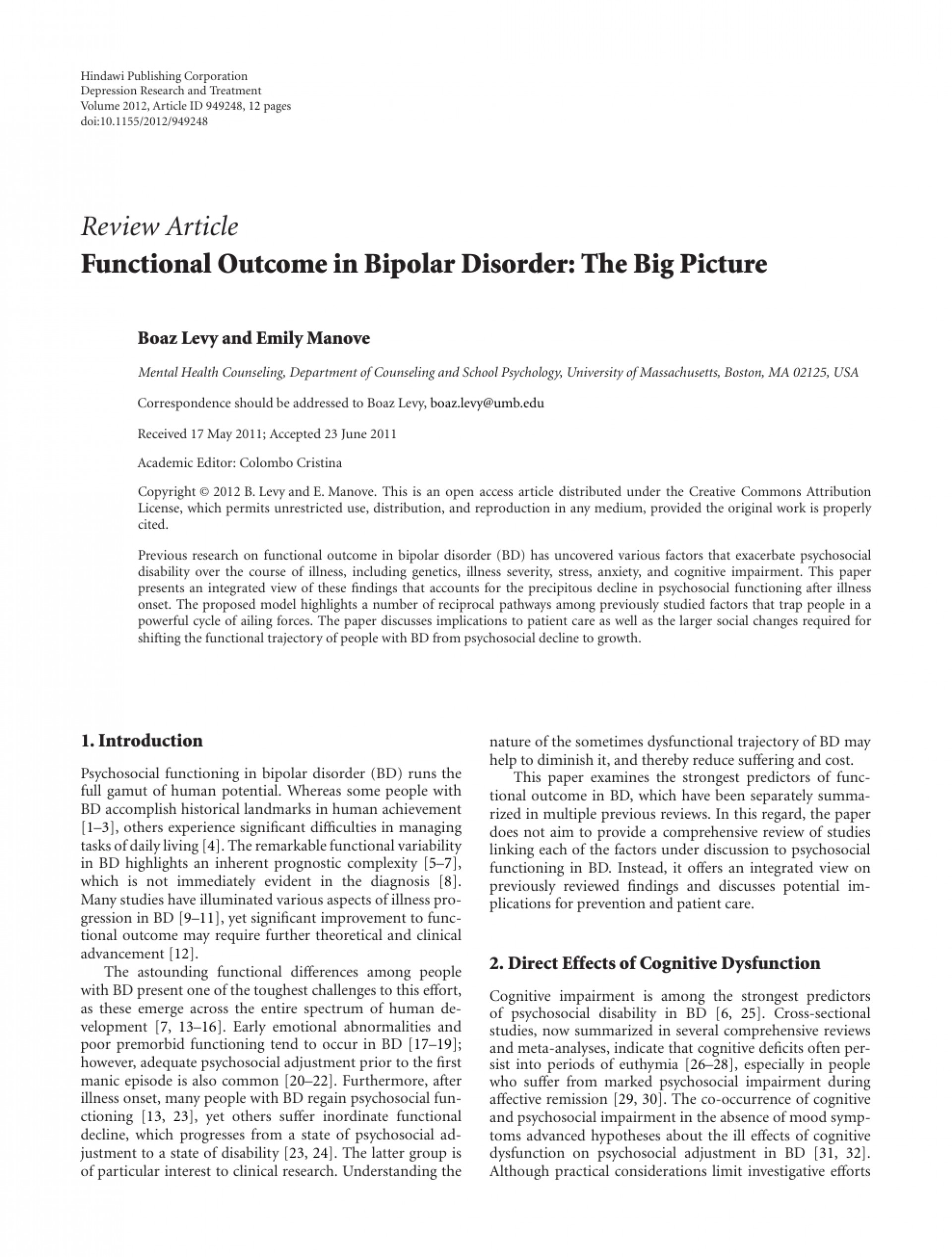 014 Research Paper On Bipolar Disorder Archaicawful Pdf About Articles 1920