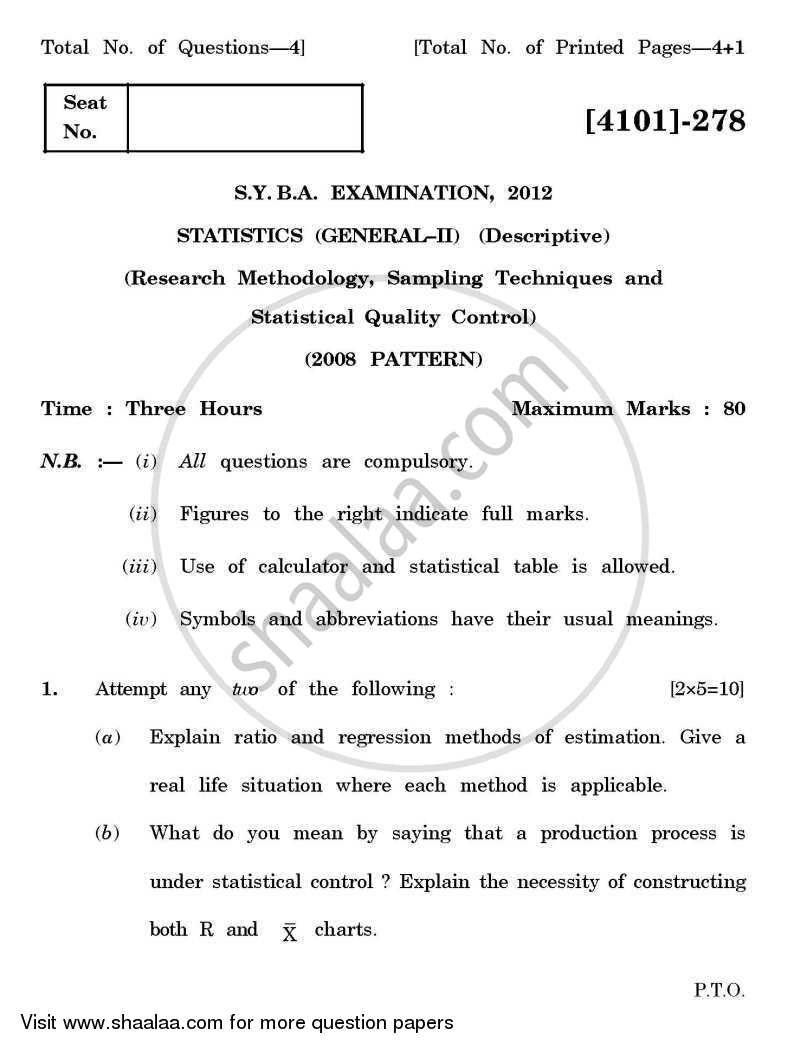 014 University Of Pune Bachelor Statistics General Paper Research Methodology Sampling Techniques Statistical Quality Control Syba 2nd Year 2012 25713754a7140480982090cf66c10c20 Impressive Sample For Writing Pdf Full
