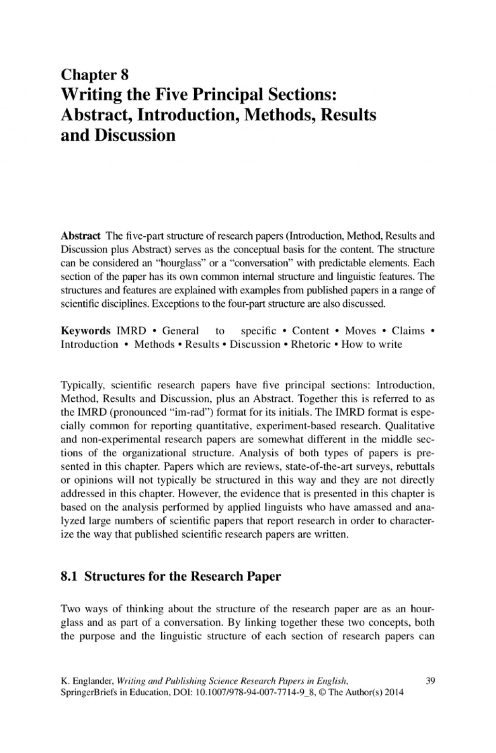 014 Writing The Five Principal Sections Abstract Introduction Methods Results And Discussion Essay Forum L Research Paper Section Of Wonderful Example A Apa Qualitative Large