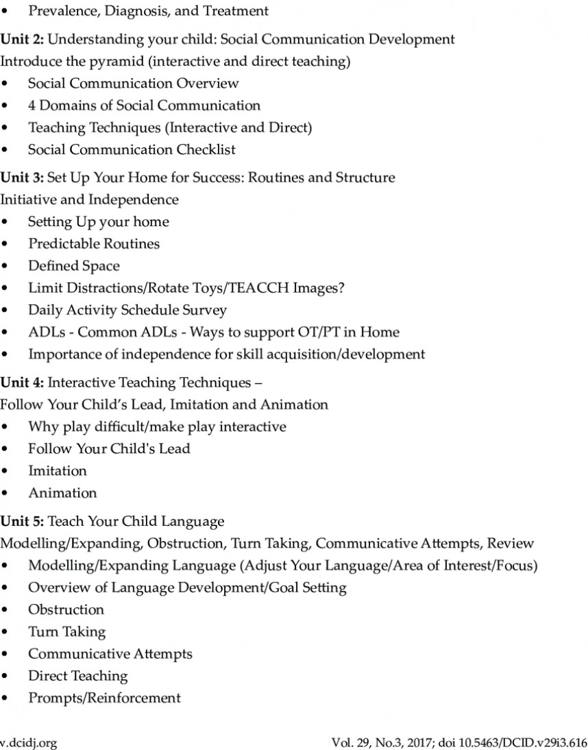 015 Autism Research Paper Outline Of The Bpep Programme Curriculum Unit Introduction To Surprising For