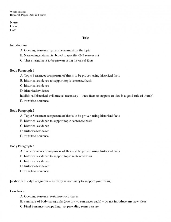 015 Biology Research Paper Sample Outline Remarkable Format Example 728