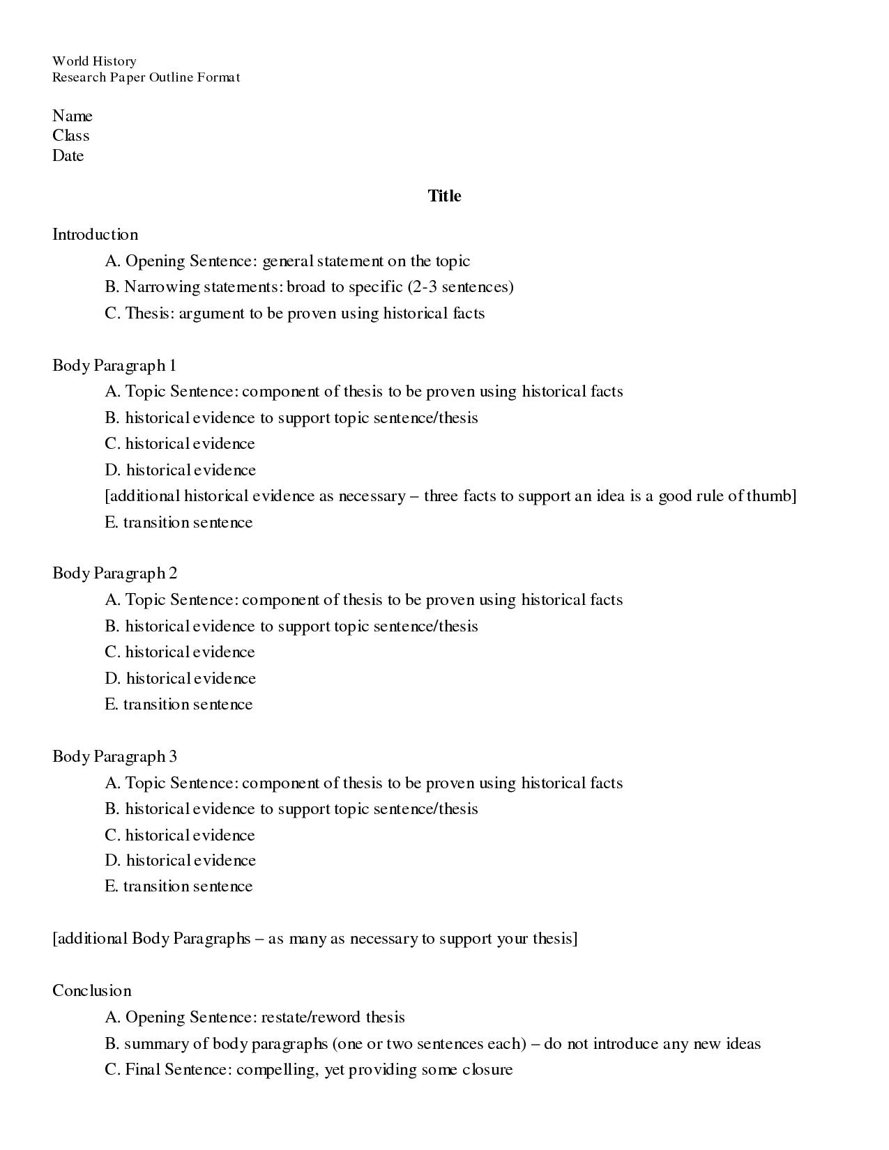 015 Biology Research Paper Sample Outline Remarkable Format Example Full