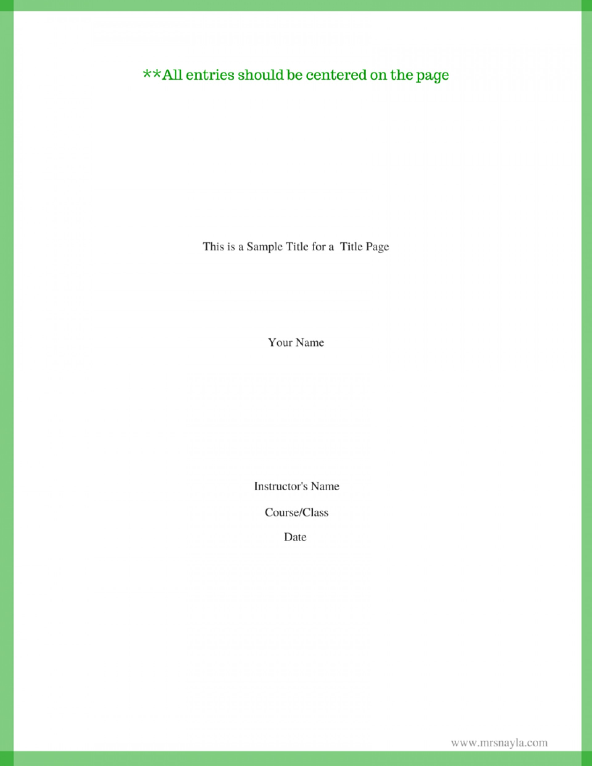 015 Do You Need Cover Page For Mla Research Paper This Is Sample Title Fascinating A 1920