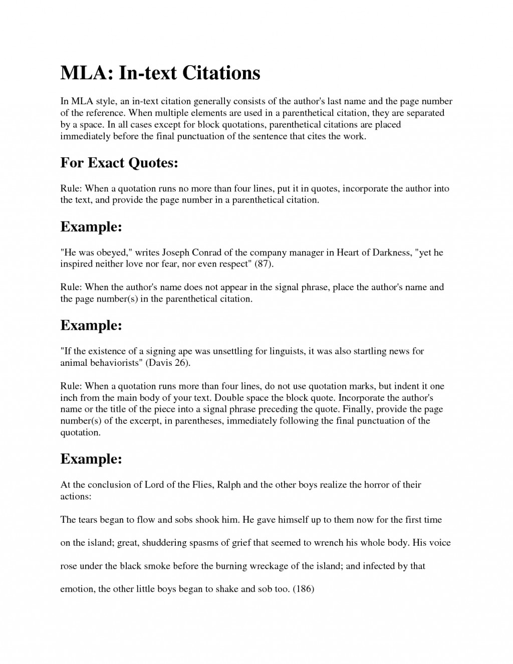 015 Mla Citation Example Research Paper Lord Of The Flies Resume Examples Images Cover Letter Striking Format Encyclopedia Article Book Purdue Owl Large