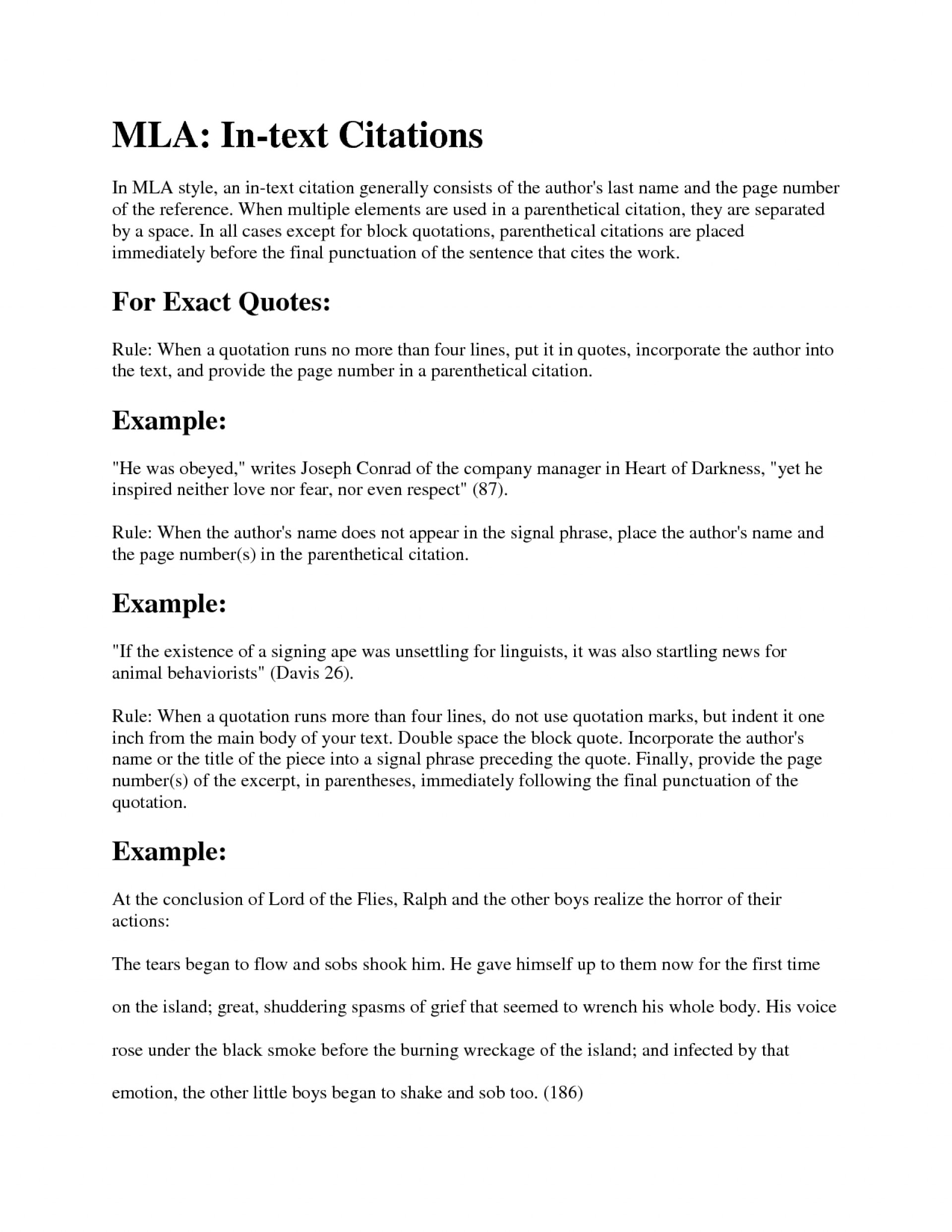 015 Mla Citation Example Research Paper Lord Of The Flies Resume Examples Images Cover Letter Striking Format Encyclopedia Article Book Purdue Owl 1920