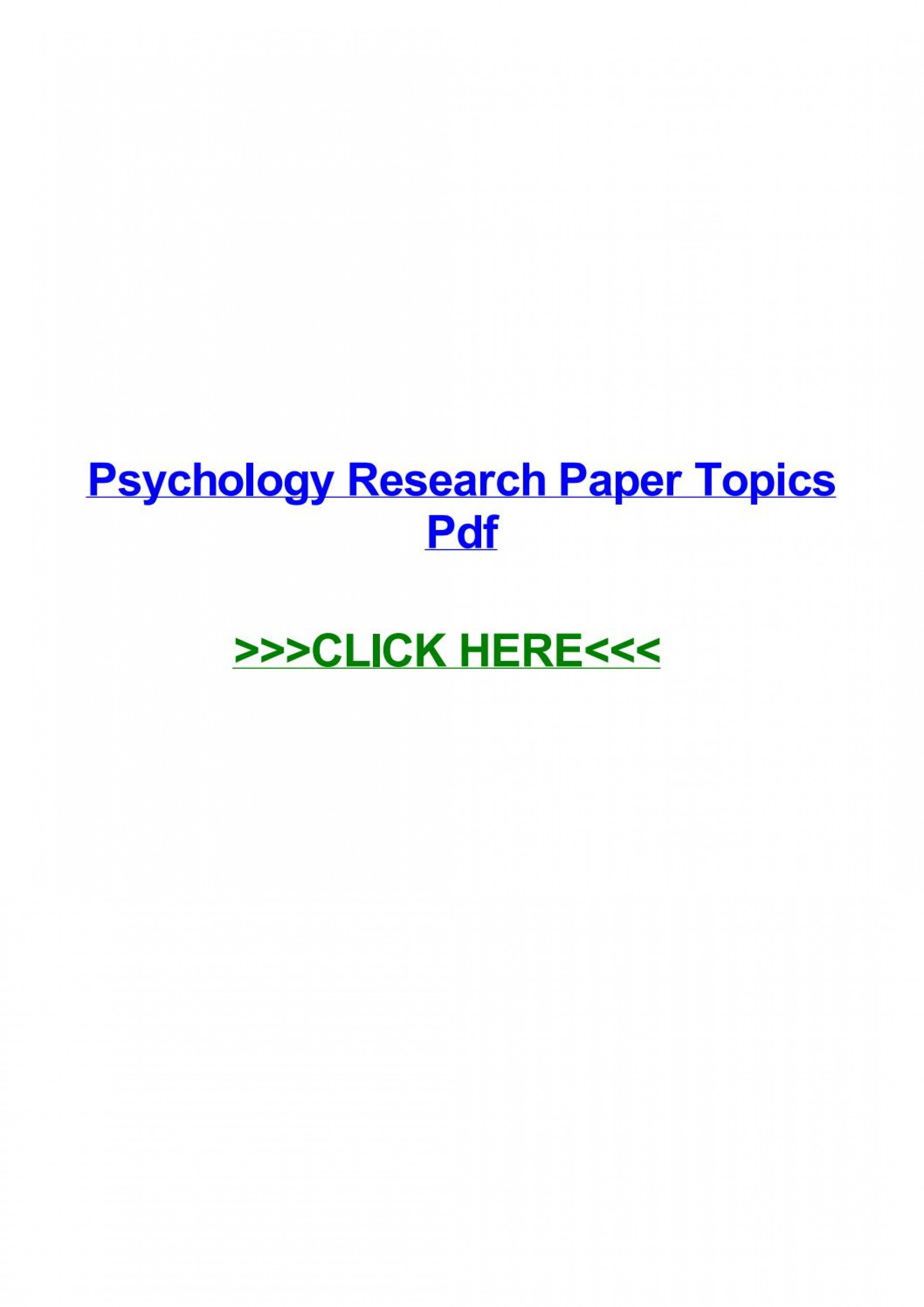 015 Psychology Research Paper Topics Pdf Page 1 Best 1920