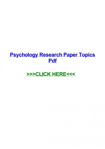 015 Psychology Research Paper Topics Pdf Page 1 Best 360