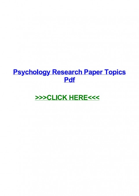 015 Psychology Research Paper Topics Pdf Page 1 Best 480