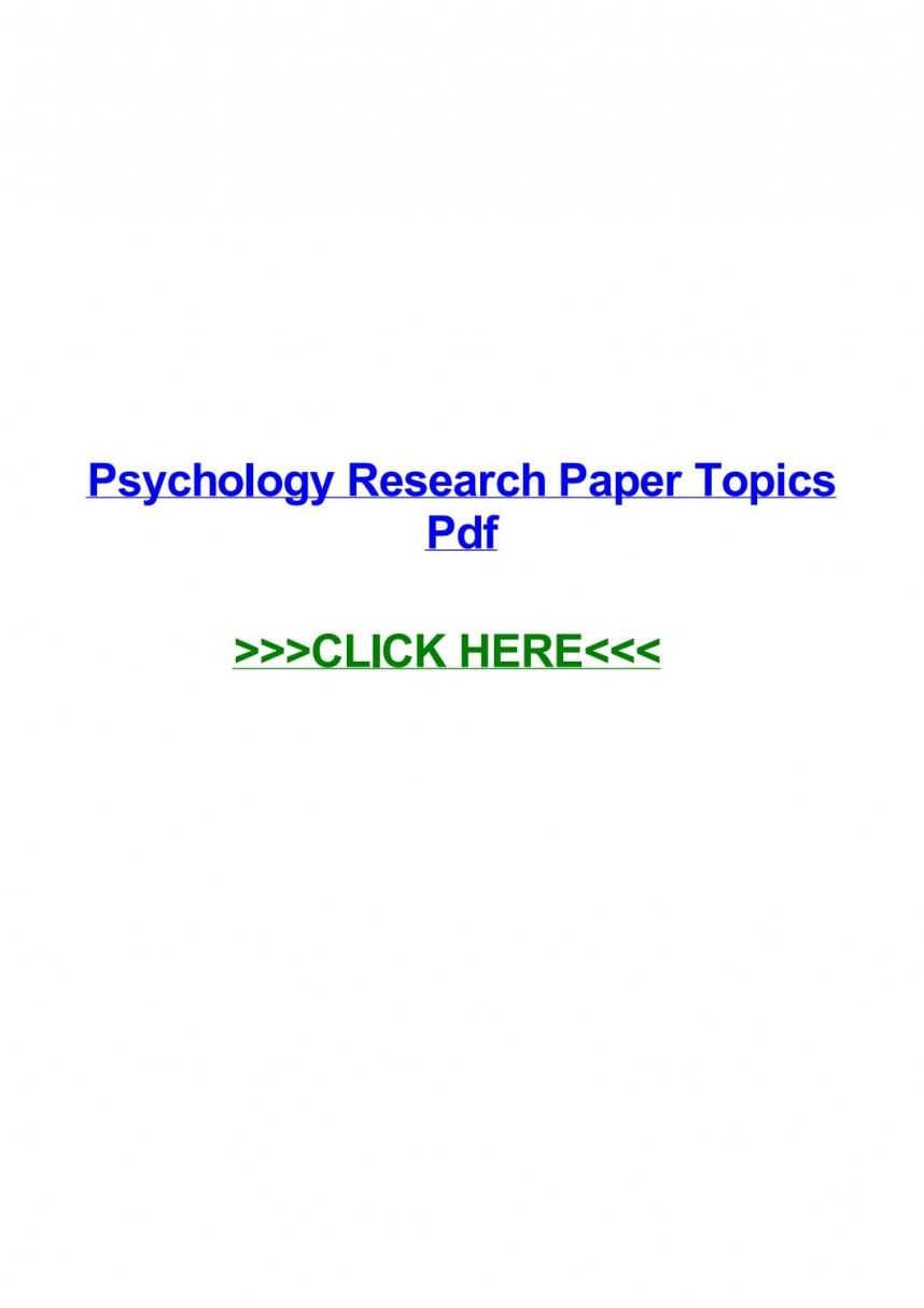 015 Psychology Research Paper Topics Pdf Page 1 Best