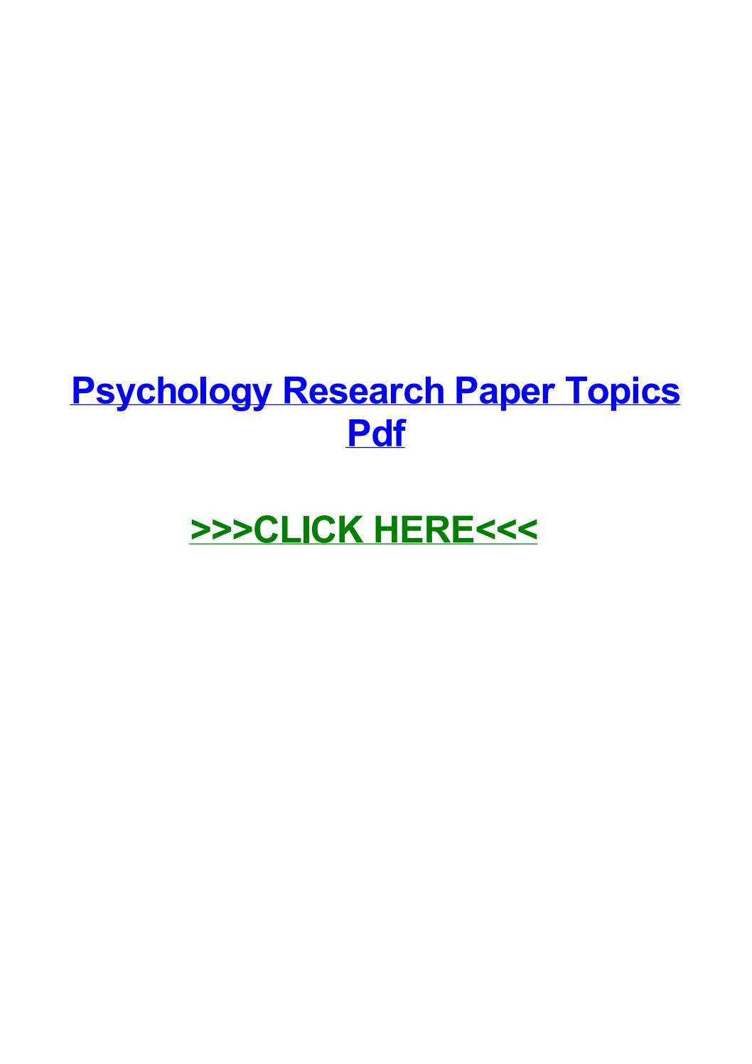 015 Psychology Research Paper Topics Pdf Page 1 Best Full