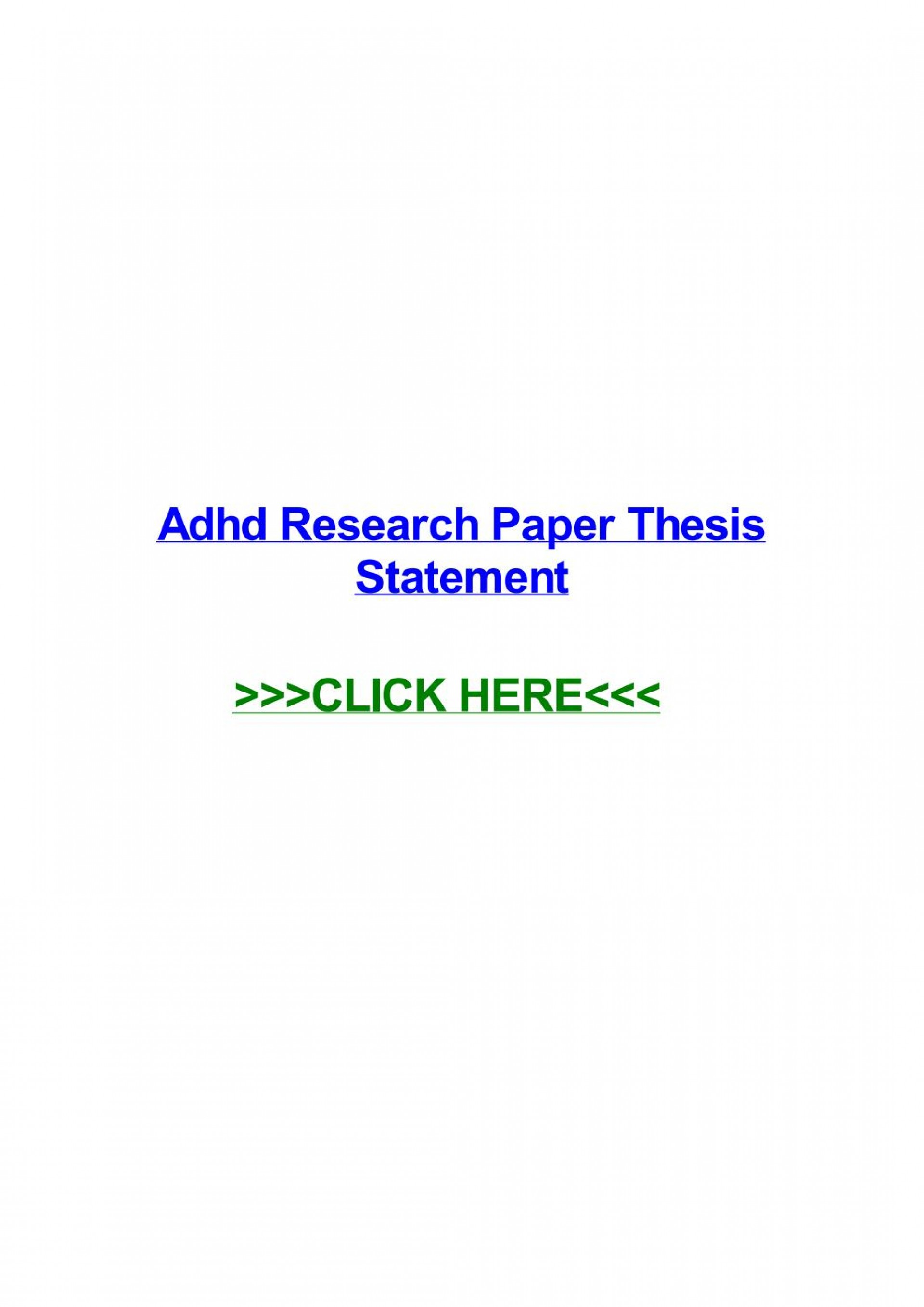 015 Research Paper Adhd Thesis Page 1 Formidable Statement 1920