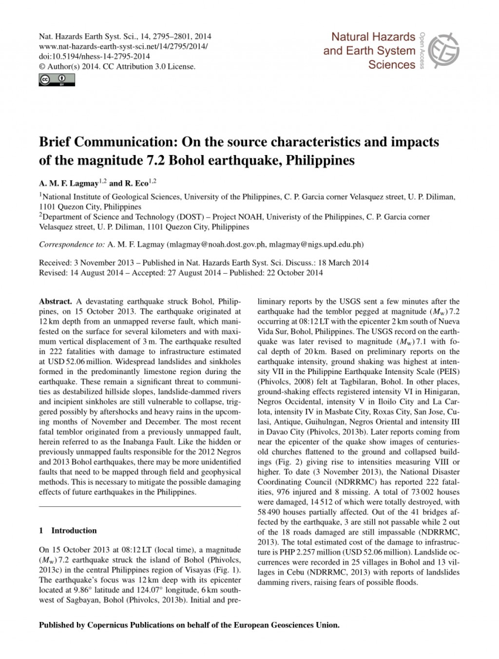 015 Research Paper Earthquake Pdf Philippines Wondrous Large