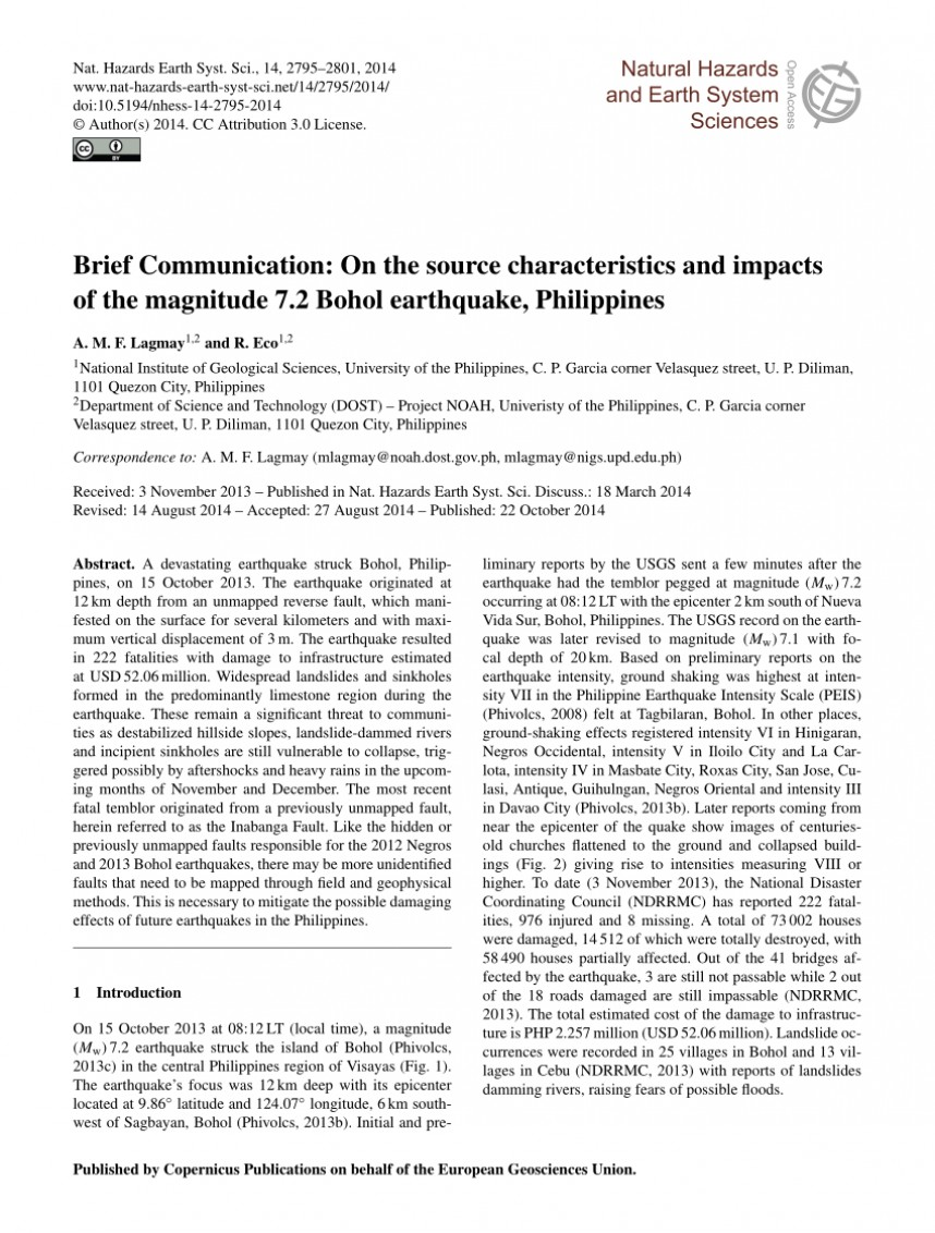 015 Research Paper Earthquake Pdf Philippines Wondrous