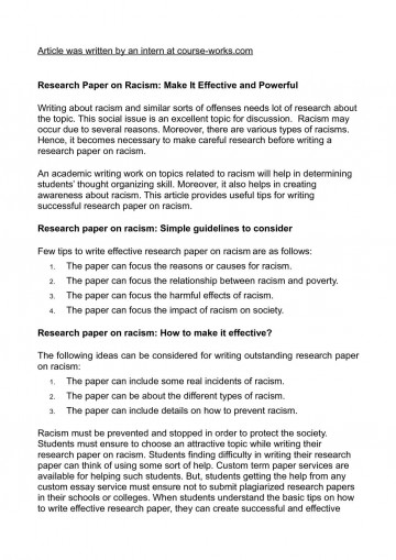 015 Research Paper How Is Written Racism Writing Wonderful A In Third Person What 360