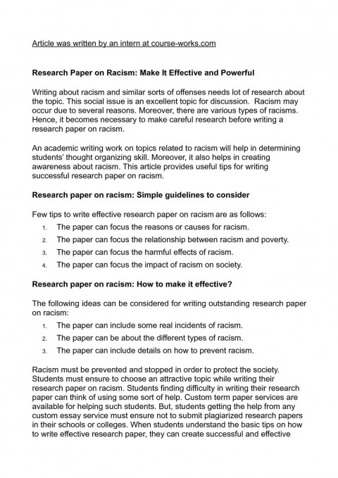 015 Research Paper How Is Written Racism Writing Wonderful A In Third Person What 480