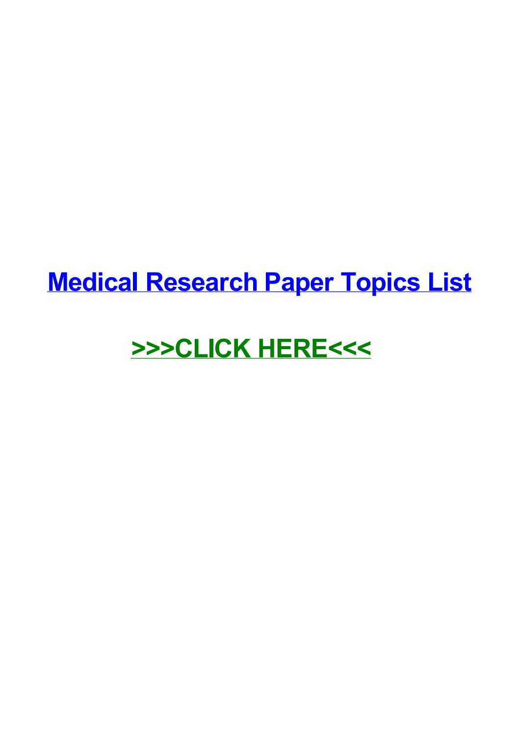 015 Research Paper Medical Topics Page 1 Stupendous For High School Students College